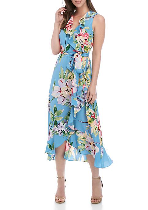 Sleeveless Floral Wrap Dress with Ruffle Hem