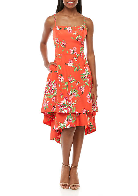 Sleeveless Asymmetric Hem Floral Dress
