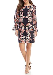Vince Camuto Long Chiffon Sleeve Print Dress