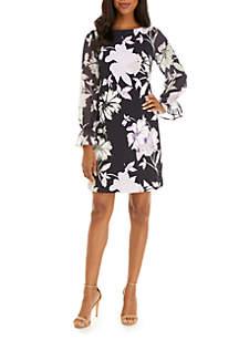3/4 Chiffon Bell Sleeve Printed Dress