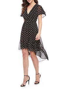 Vince Camuto Short Sleeve Polka Dot V Neck A Line Ruffle Dress