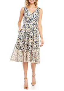 Vince Camuto Sleeveless Lace Fit and Flare Dress