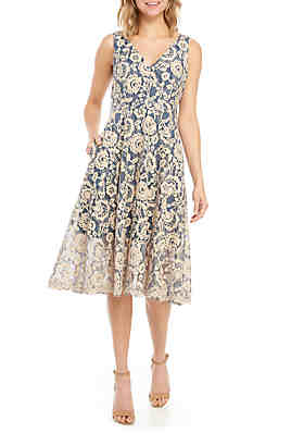 040845890fcb Vince Camuto Sleeveless Lace Fit and Flare Dress ...