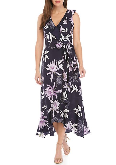 Sleeveless V-Neck Faux Wrap Dress