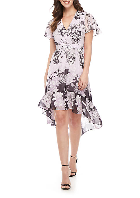 Short Sleeve Chiffon Flutter Dress