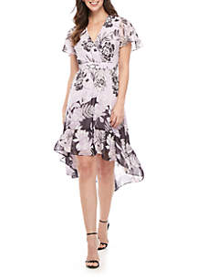 Vince Camuto Short Sleeve Chiffon Flutter Dress