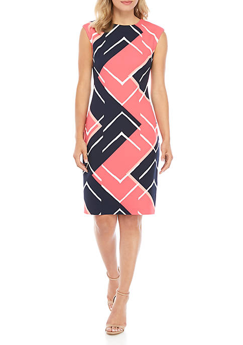 Cap Sleeve Geo Print Sheath Dress