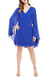 Vince Camuto Long Sleeve Cape Dress