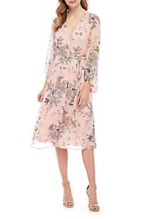 Vince Camuto Long Sleeve Floral Chiffon Dress