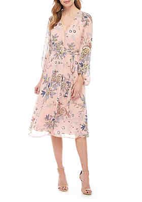 37fc04ac Vince Camuto Long Sleeve Floral Chiffon Dress ...