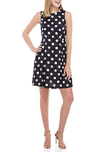 Vince Camuto Polka Dot Fit and Flare Dress