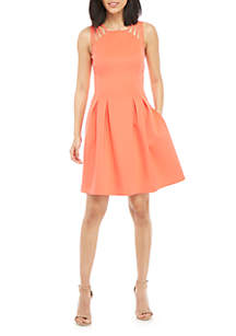 Vince Camuto Sleeveless Strappy Solid Fit and Flare Dress