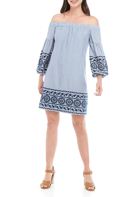 Off The Shoulder Puff Sleeve Embroidered Stripe Shift Dress