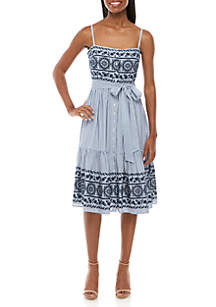 Vince Camuto Sleeveless Embroidered Detail Chambray Dress