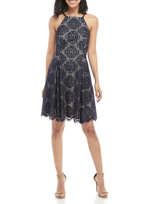 Halter Lace Fit and Flare Dress