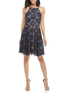 Vince Camuto Halter Lace Fit and Flare Dress