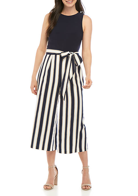 Sleeveless Tie Waist Crop Jumpsuit