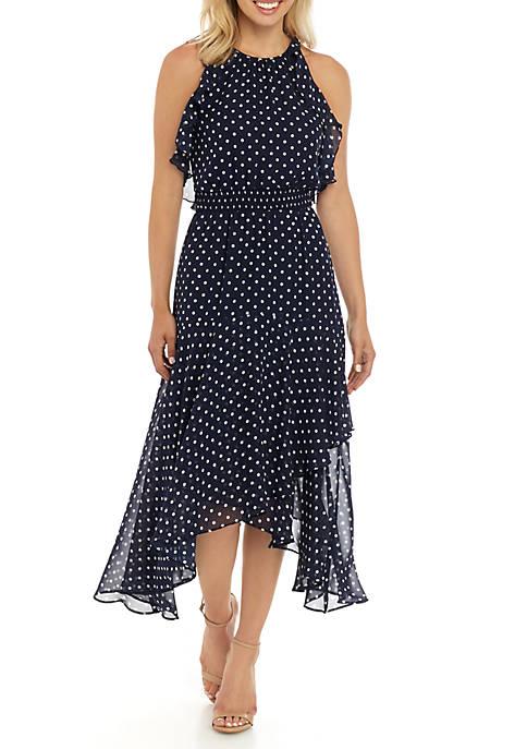 Sleeveless Dot Chiffon Dress