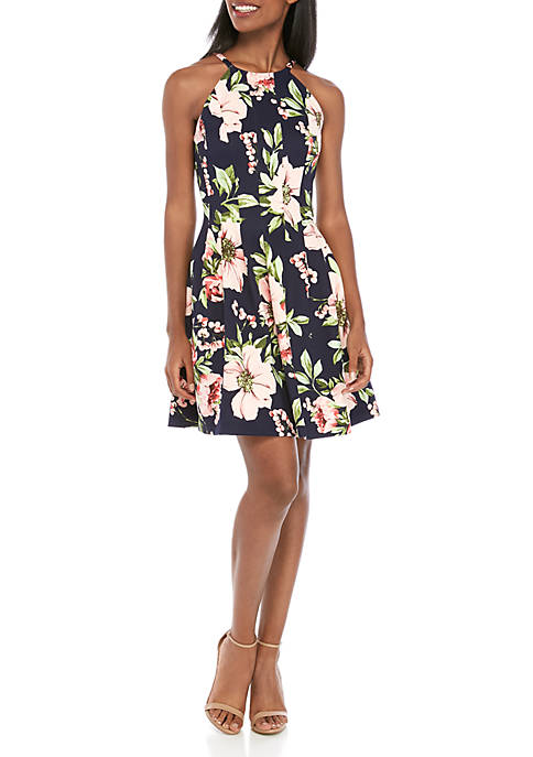 Vince Camuto Allover Floral Fit and Flare Halter