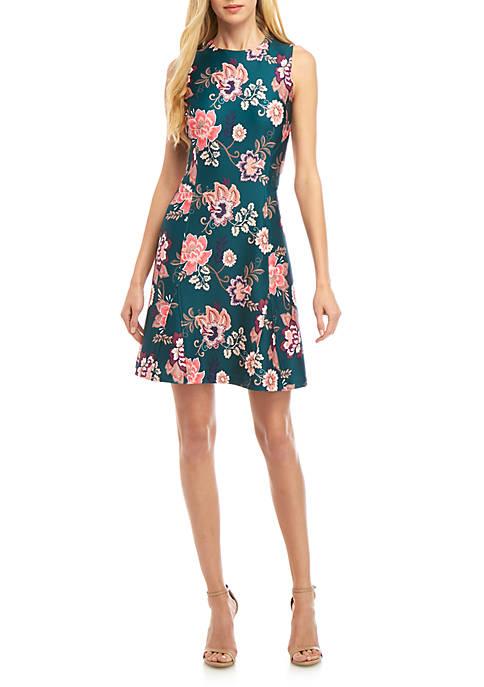 Sleeveless Floral A Line Dress