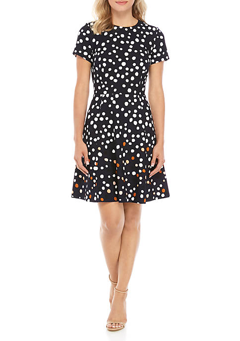 Short Sleeve Allover Dot Fit and Flare Dress