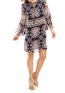 9d94d8f6ddf4 ... Vince Camuto Bell Sleeve Printed Chiffon Dress