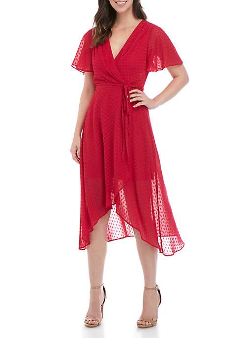 Short Sleeve Wrap High Low Dress