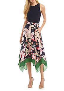 Vince Camuto Sleeveless Floral Handkerchief Hem Dress