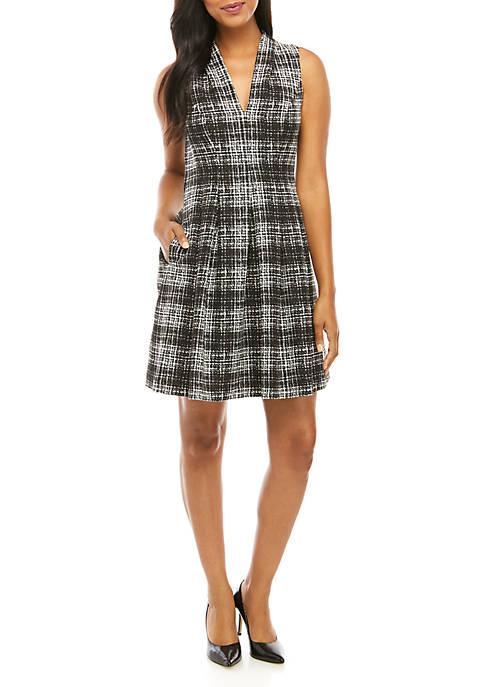 Sleeveless Plaid V-Neck Fit and Flare Dress