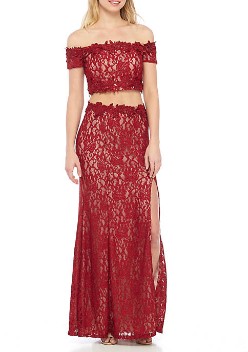 sequin hearts Two-Piece Off the Shoulder Sparkle Lace