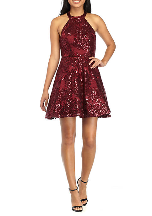 Sequin Hearts Lace And Sequin Fit And Flare Halter Party
