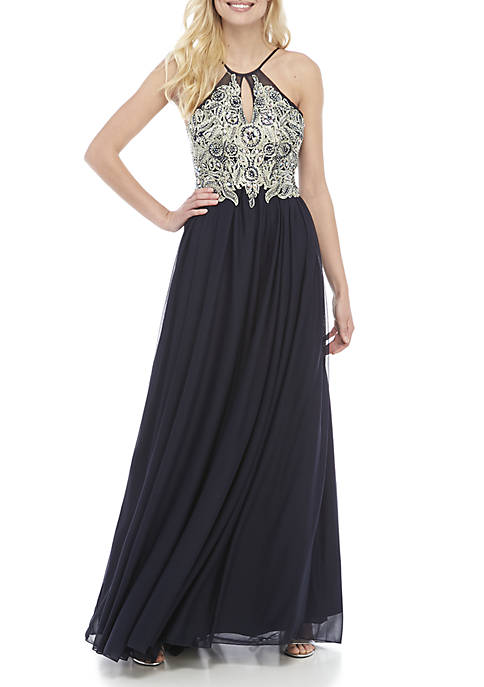 Sheer Matte Jersey Beaded Embroidered Gown