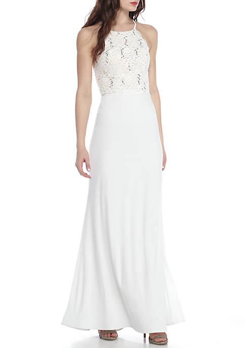 sequin hearts Sequin Lace Bodice Halter Gown   belk