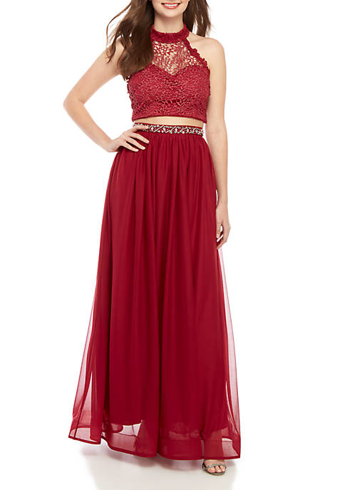 sequin hearts 2 Piece Embellished Halter Gown
