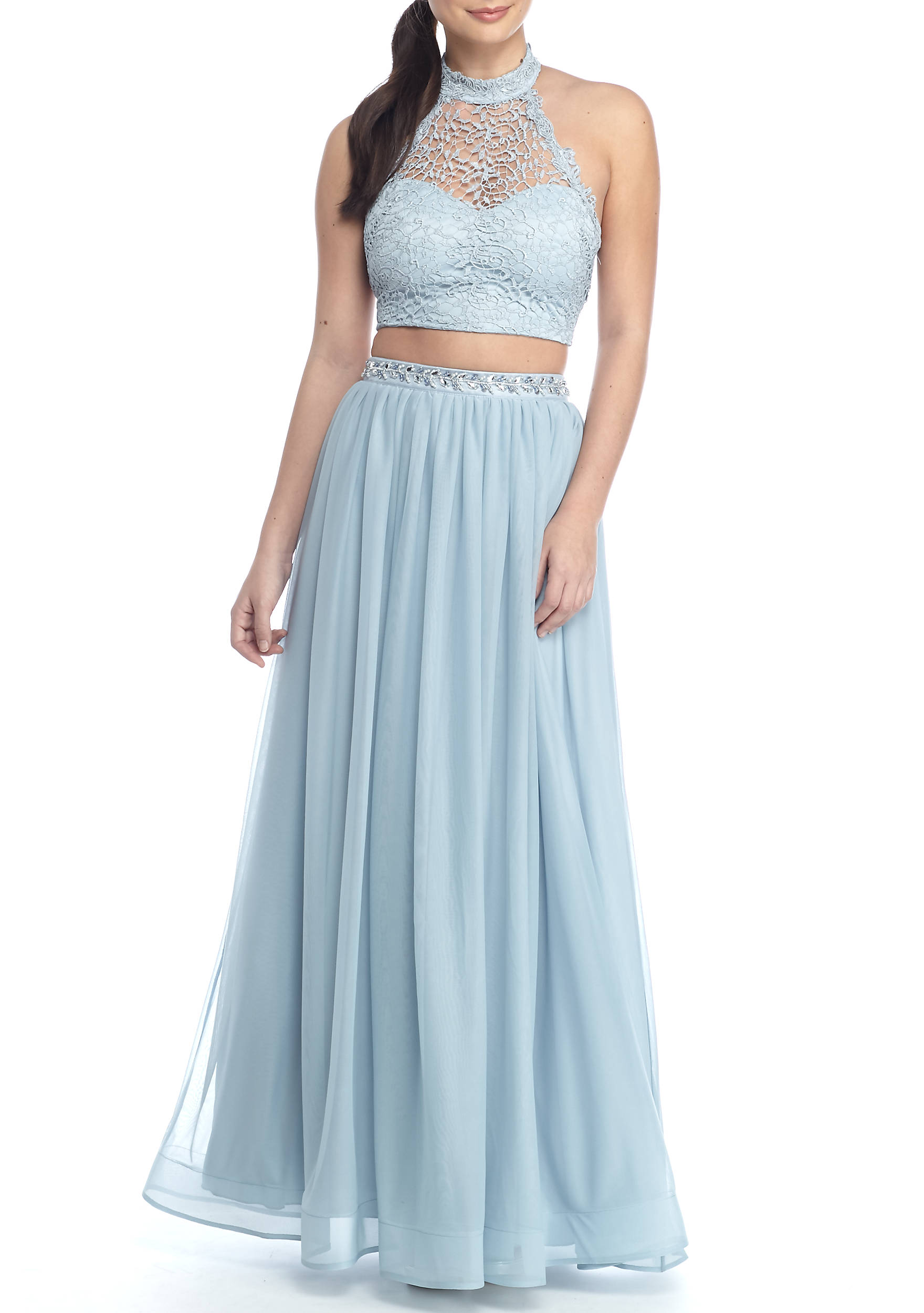 sequin hearts Long Two-Piece Chiffon Dress | belk