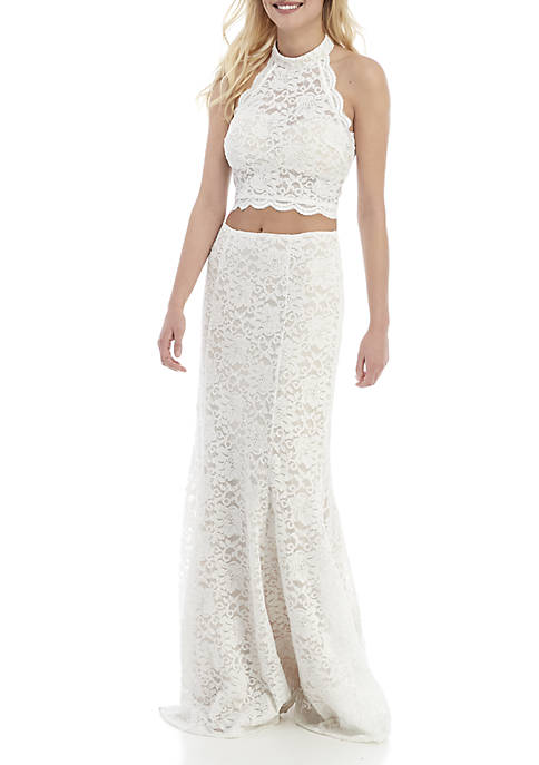 sequin hearts 2 Piece Glitter Lace Halter Gown