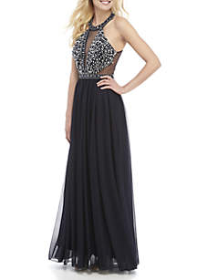 sequin hearts Bead and Sequin Embellished Mesh Gown