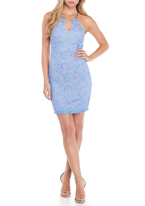 sequin hearts Lace Halter Scallop Racerback Dress