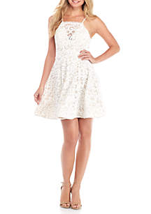 Lace U-Back Fit-and-Flare Dress