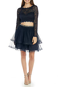 2-Piece Long Sleeve Lace Illusion Top With Tulle Skirt