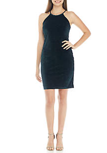 Sleeveless Halter Glitter Velvet Dress