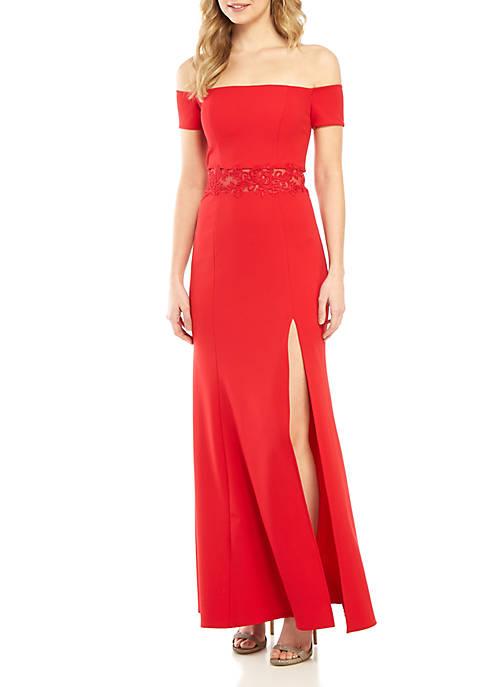 Off the Shoulder Illusion Mesh Applique Waist Gown