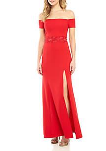sequin hearts Off the Shoulder Illusion Mesh Applique Waist Gown