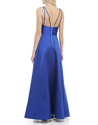 79ee6875eb220 sequin hearts Strappy Satin Gown with Asymmetrical Split   belk