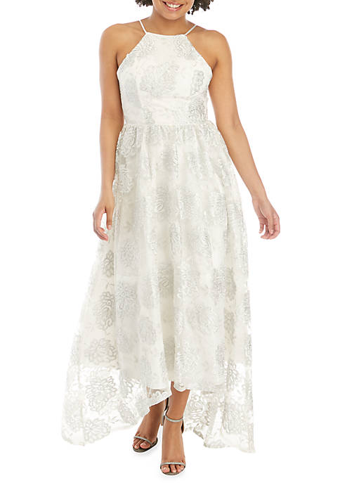 sequin hearts Embroidered Mesh High Low Hem Gown