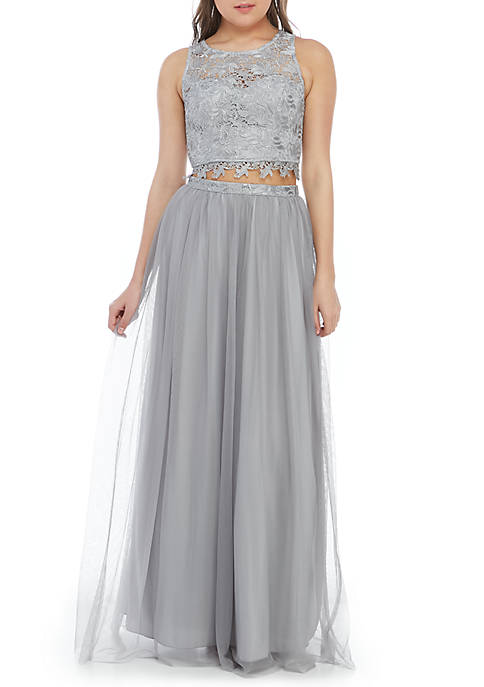 sequin hearts 2 Piece Lace and Mesh Gown