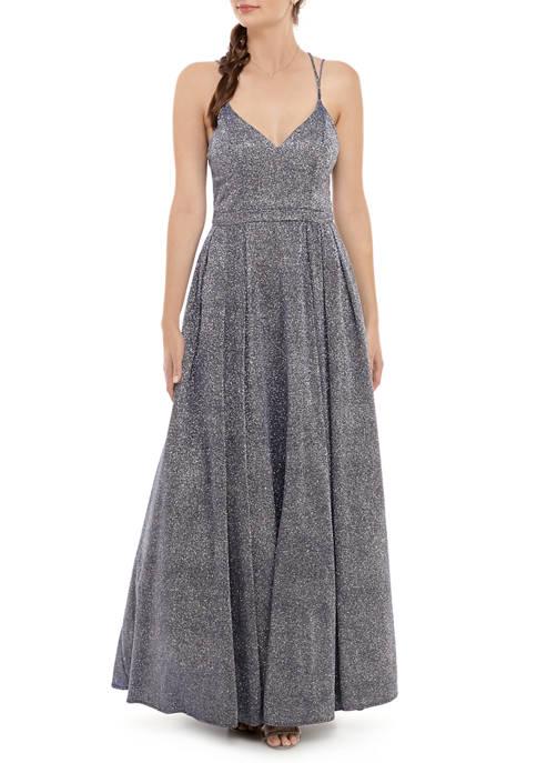 Womens Sleeveless Sparkle Gown