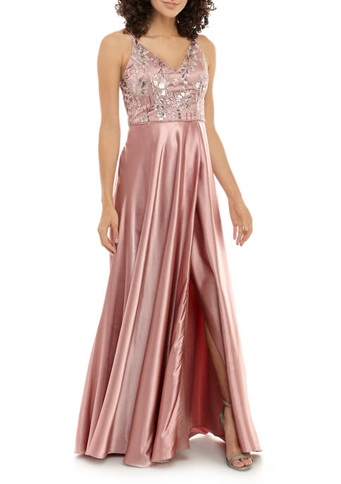 Womens Glitter Applique Gown