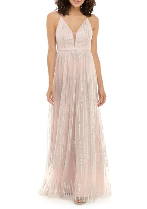 Womens Deep V Neck Glitter Gown