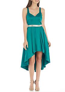Sleeveless Satin High Low Hem Dress with Embellished Waist